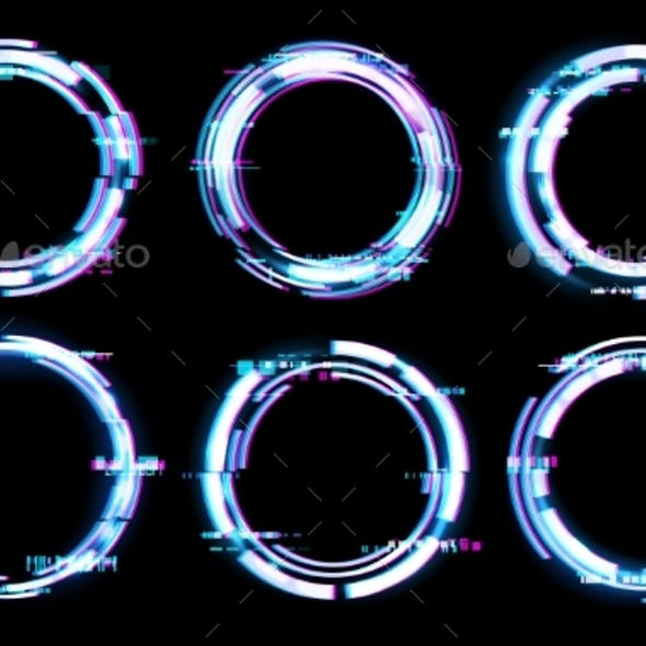 Glitch Digital Frames Circles Neon Light Effect