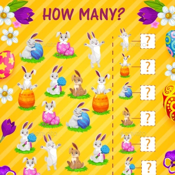 Counting Kids Game How Many Easter Eggs Bunnies