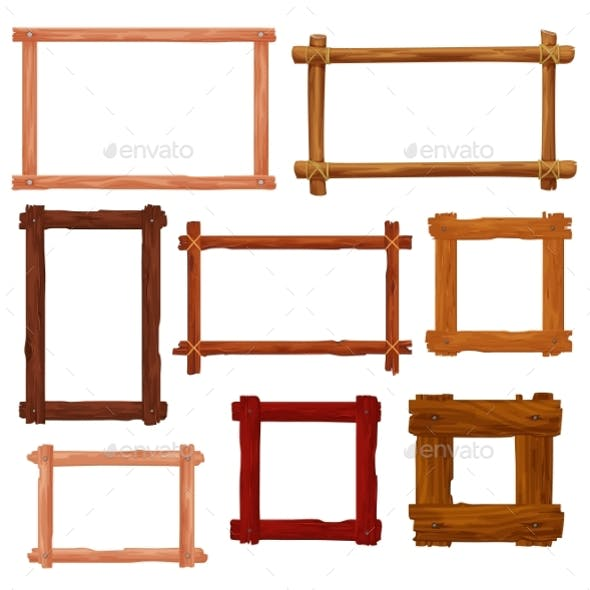 Wooden Frames and Brown Wood Borders Cartoon