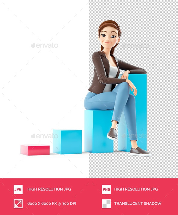 3D Cartoon Woman Sitting on Bar Graph - Characters 3D Renders