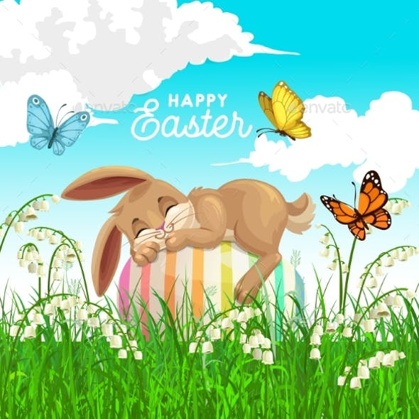 Happy Easter Vector Poster with Bunny Sleep on Egg