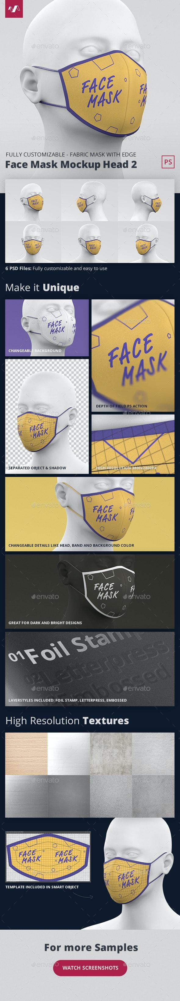 Face Mask Mockup Head Fabric 2 - Miscellaneous Apparel
