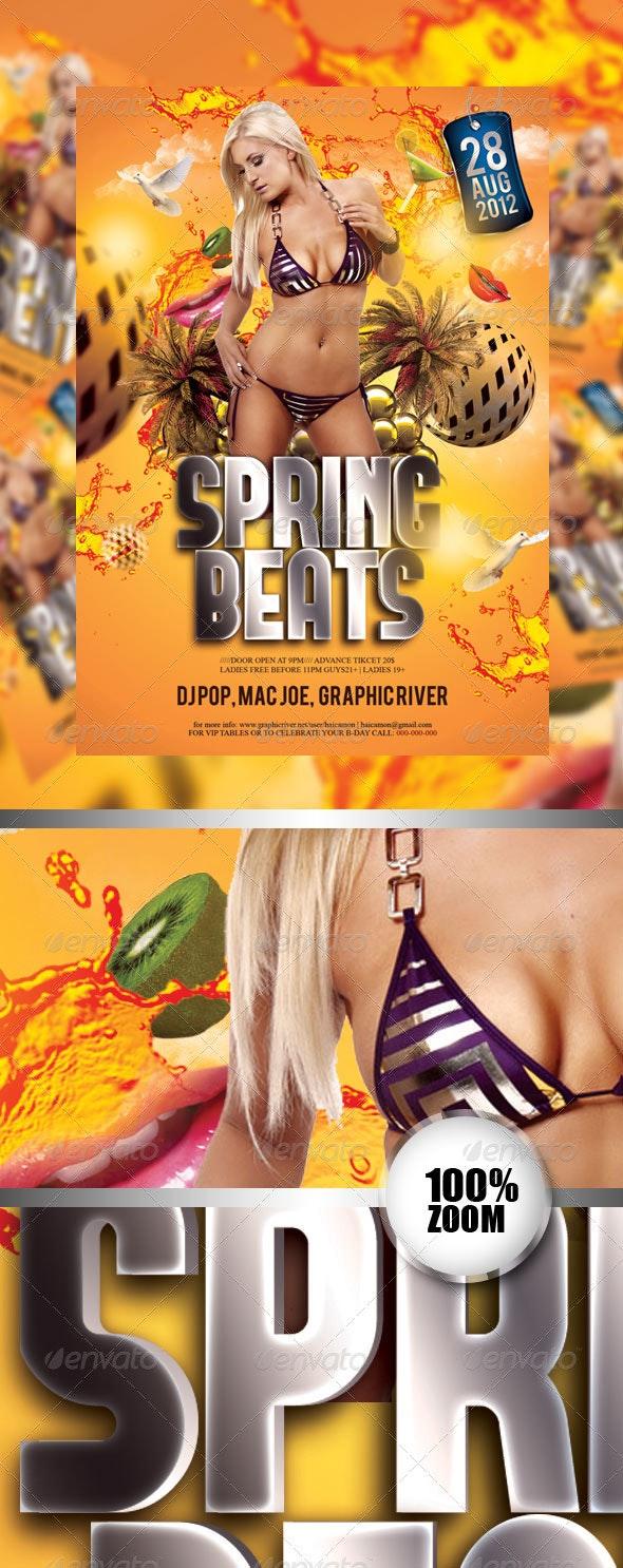 Spring Beats Party Flyer - Flyers Print Templates