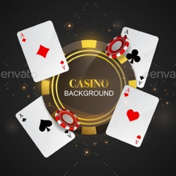 Casino Background with Cards and Tokens