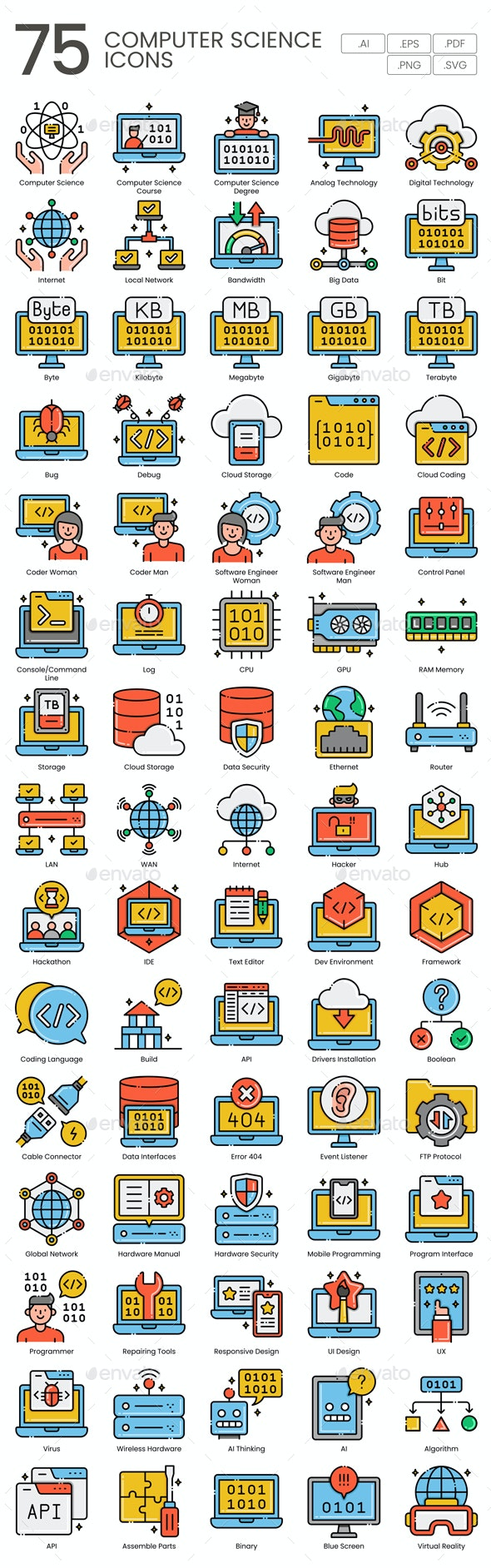 75 Computer Science Icons | Aesthetics Series - Icons