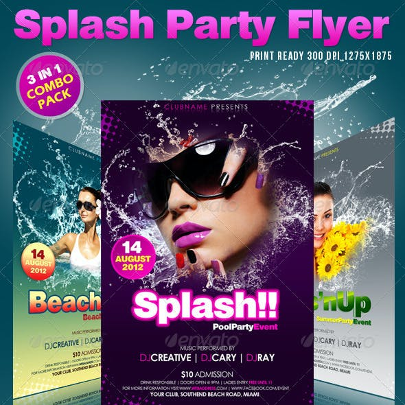 Splash Party Flyer's ( Combo Pack )