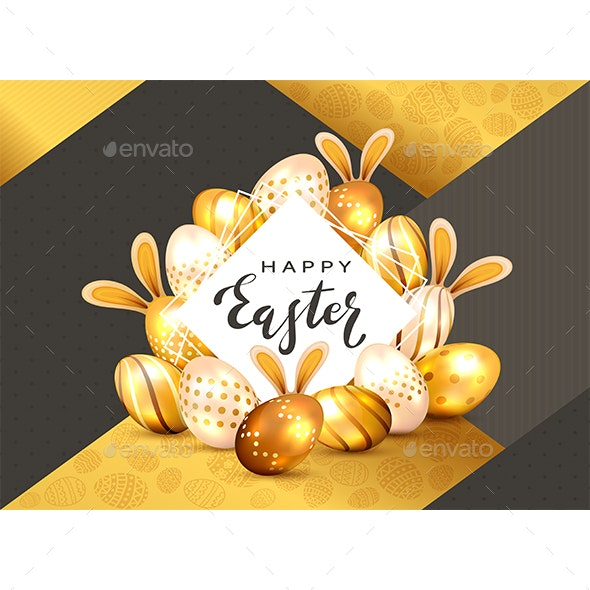 Happy Easter on White Card and Rabbit Ears with Golden Eggs - Miscellaneous Seasons/Holidays