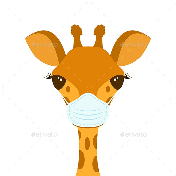 Giraffe Head in a Medical Mask - Animals Characters