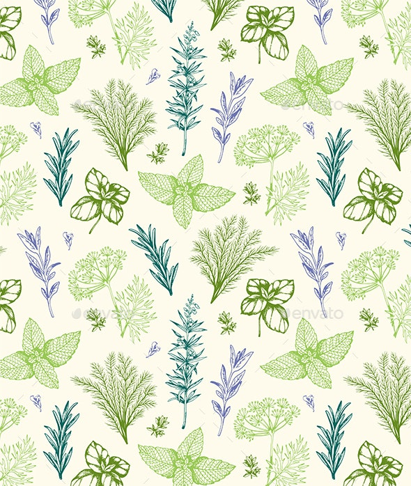 Vintage Pattern with Provencal Herbs - Patterns Decorative