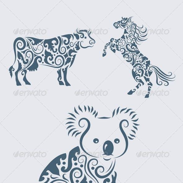 Koala ornament and friends (5 animal ornaments)