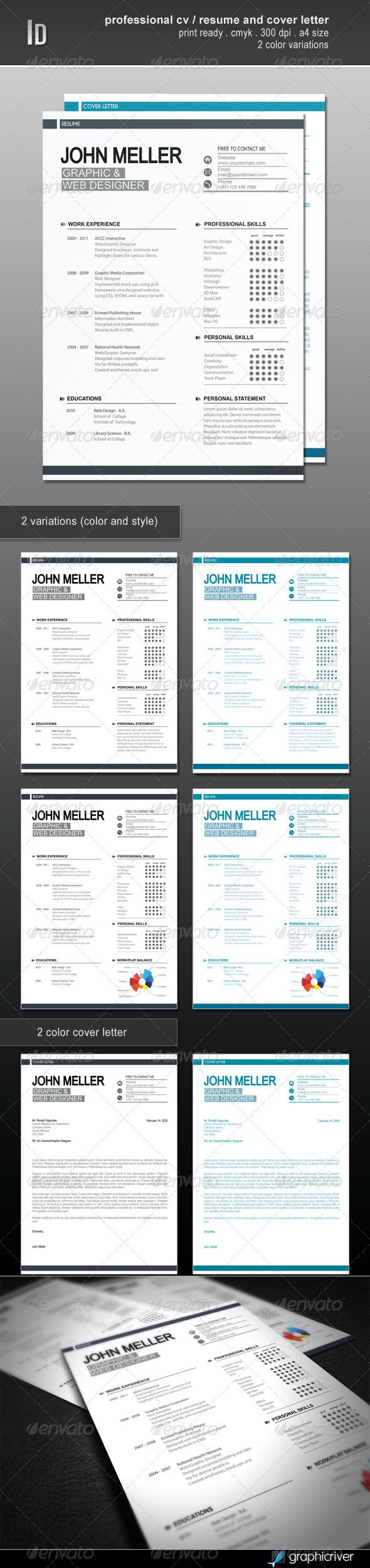 Professional Cv / Resume And Cover Letter - Resumes Stationery