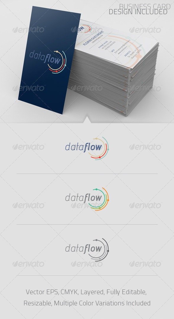 Data Flow Logo Template - Abstract Logo Templates