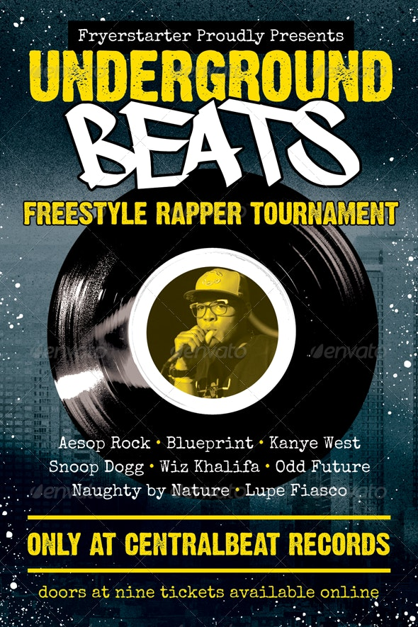 Underground Beats - Hip-Hop Flyer Template - Concerts Events