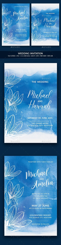 Watercolor Wedding Invitation - Cards & Invites Print Templates