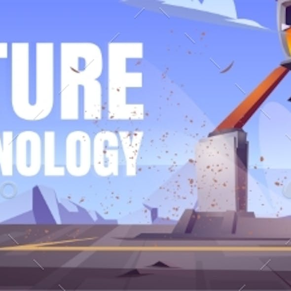Future Technology Cartoon Banner with Drilling Rig