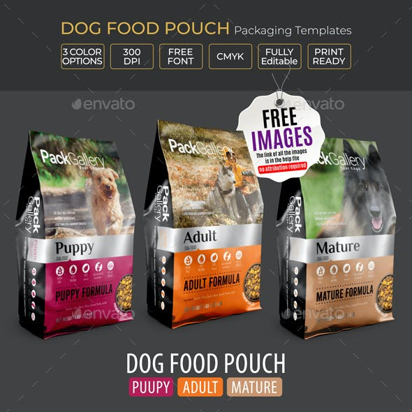 Pet Food Pouch Packaging Template (Dog Food)