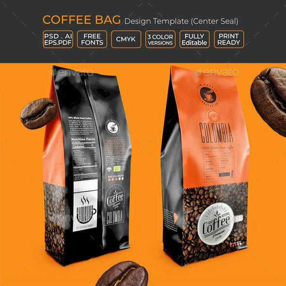 Coffee Bag Packaging Template (Centre Seal)