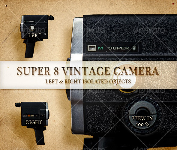 Super 8 Vintage Camera - Technology Isolated Objects