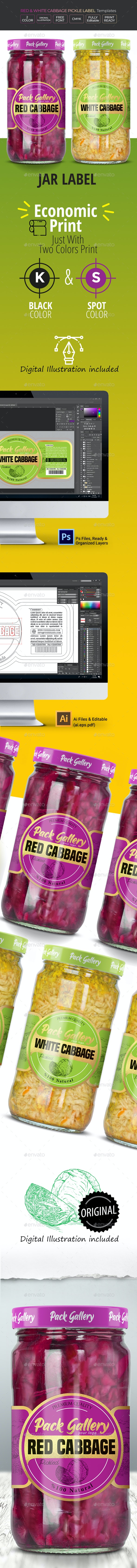 Pickle Label Design (Red & White Cabbage). - Packaging Print Templates