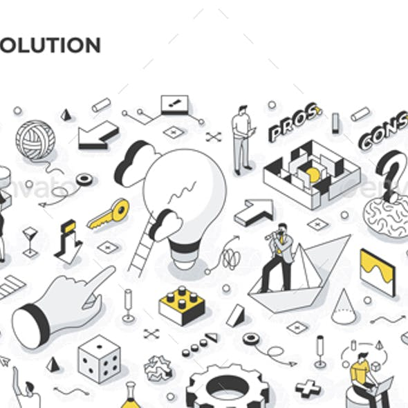 Finding Solution Isometric Illustration