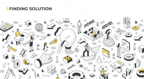 Finding Solution Isometric Illustration - Concepts Business