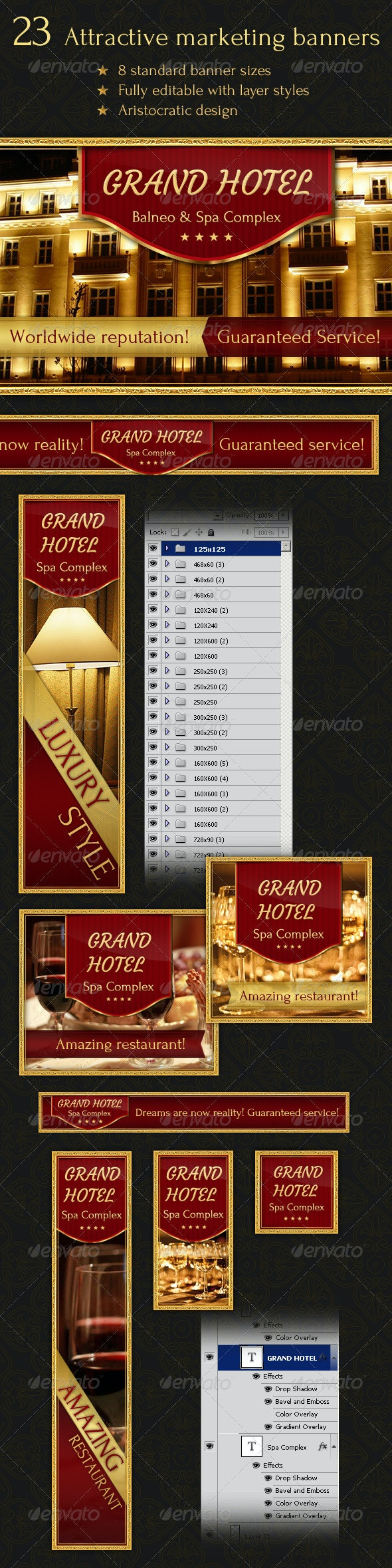 23 Aristocratic Design Banners - Banners & Ads Web Elements
