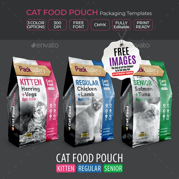 Pet Food Pouch Packaging Design Template
