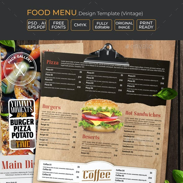 Food Menu Design Template (Vintage)