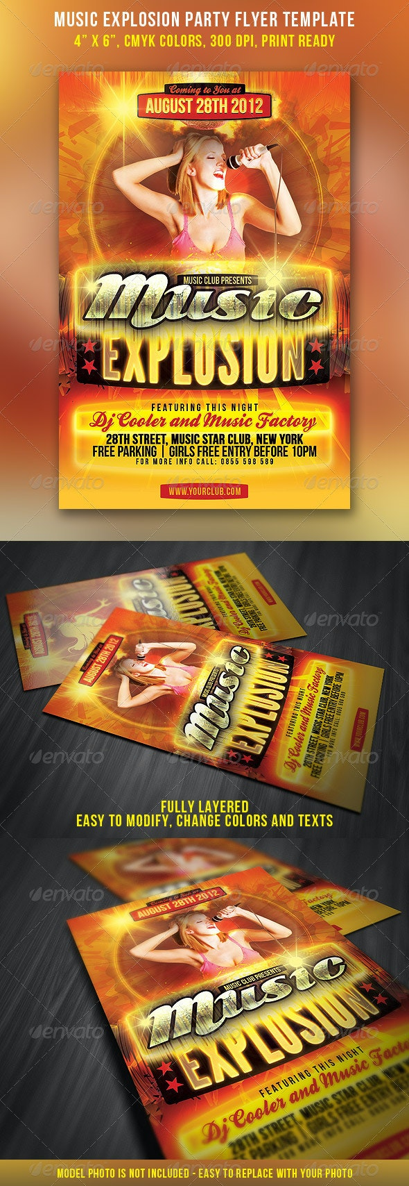 Music Explosion Party Flyer - Clubs & Parties Events