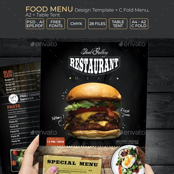 Food Menu Design Template + C Fold Menu, A2 & Table Tent Template