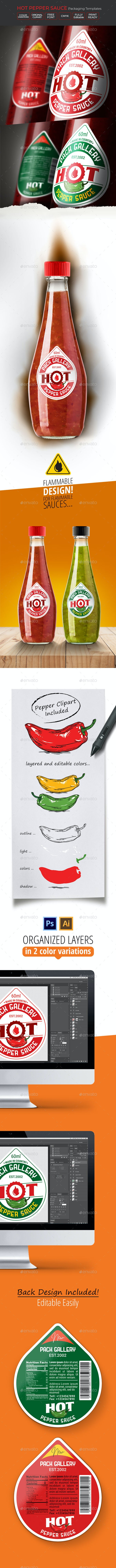 Hot Pepper Sauce Label - 2 Color Variations - Packaging Print Templates