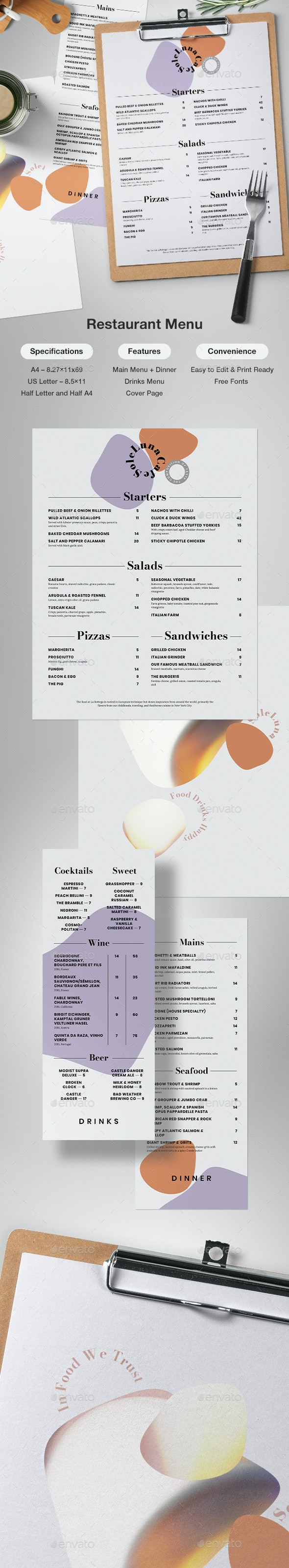 Modern Restaurant Menu - Food Menus Print Templates