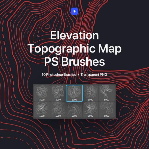 Topographic Map Photoshop Brushes