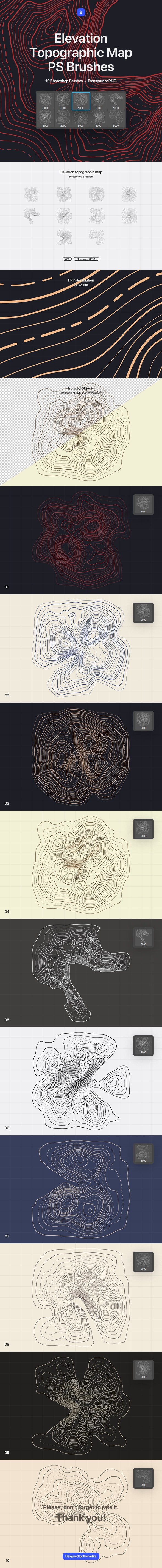 Topographic Map Photoshop Brushes - Abstract Brushes