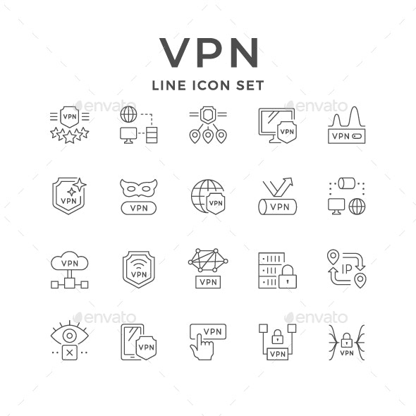 Set Line Icons of VPN - Man-made objects Objects