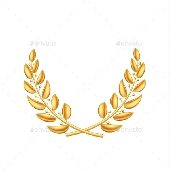 Vector Golden Laurel Wreath Winner Shiny Sign - Miscellaneous Vectors