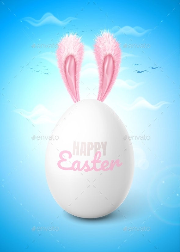 Vector Realistic Easter Egg with Rabbit Ears Sky - Miscellaneous Seasons/Holidays