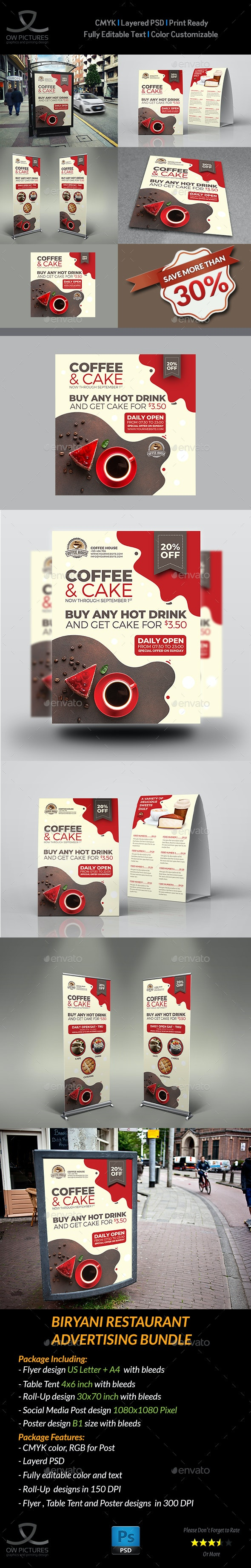 Coffee and Cake Advertising Bundle - Signage Print Templates