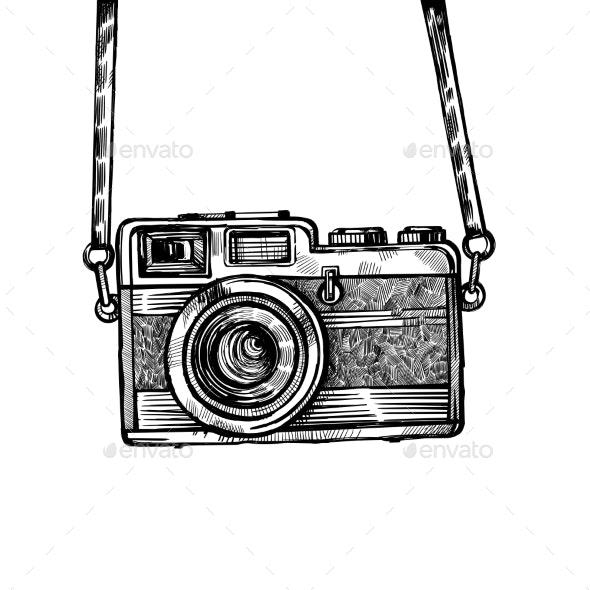 Vintage Old Photo Camera Drawn Vector - Miscellaneous Vectors
