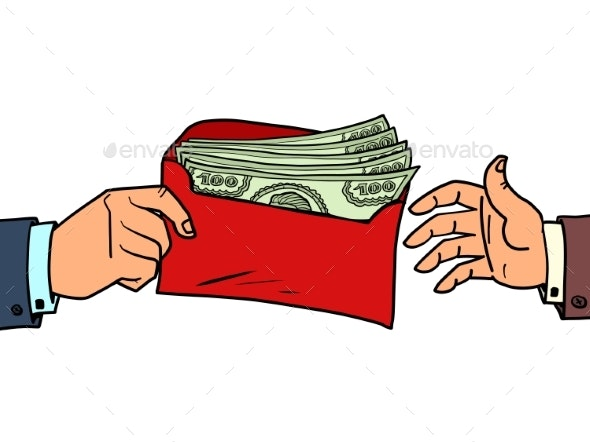 a Bribe or a Bonus Dollars in an Envelope - Concepts Business