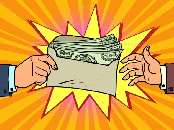 Bribe or a Bonus Dollars in an Envelope - Concepts Business