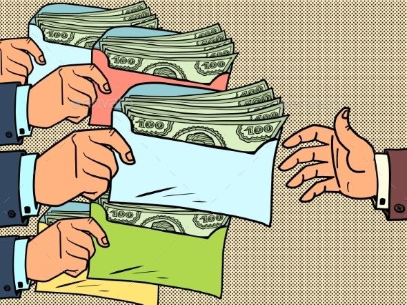 Taxes or Bribes Concept Dollars in an Envelope - Concepts Business