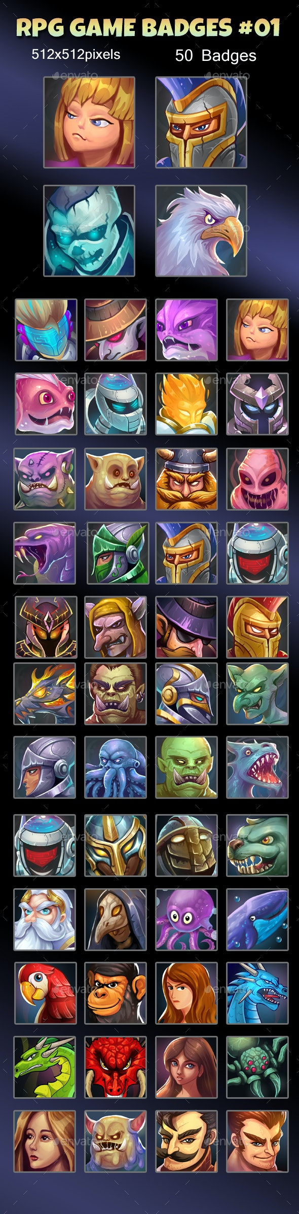 RPG Game Avatar Icons Set 01 - Miscellaneous Game Assets