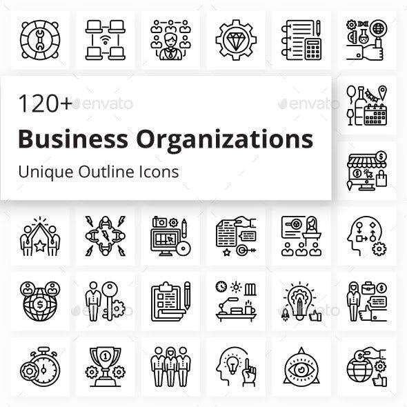 Business Organizations Unique Outline Icons