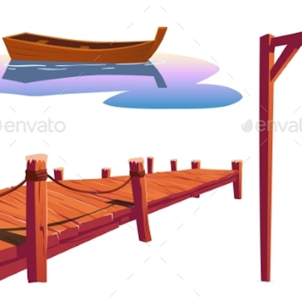 Old Wooden Pier for Fishing Boat and Lantern