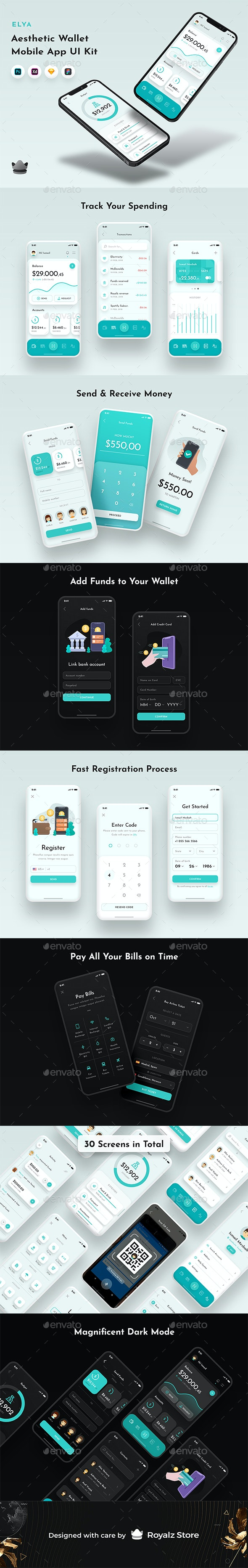 Elya - Elegant Wallet & Finance App UI Kit - User Interfaces Web Elements