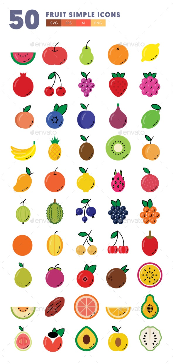 50 Fruit Simple Icons - Icons