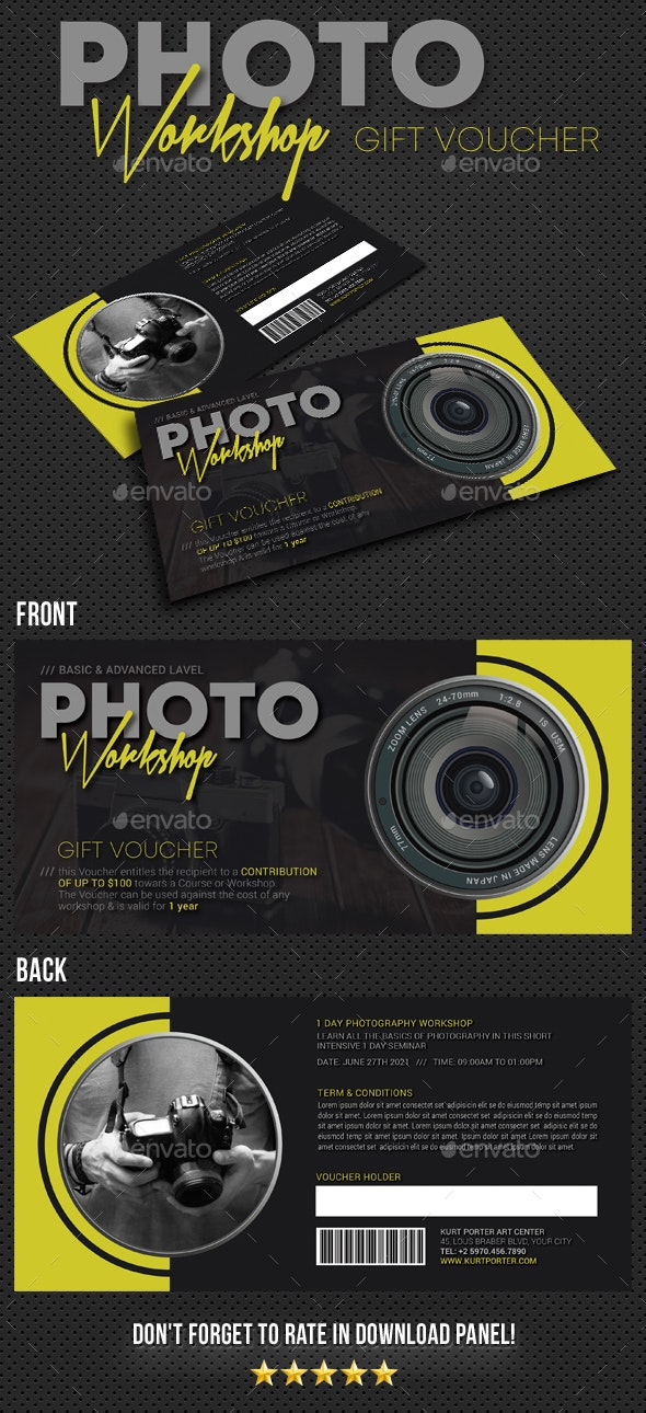 Photography Studio Gift Voucher 13 - Cards & Invites Print Templates