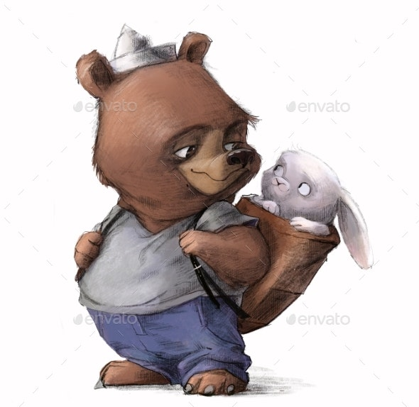 Cute Cartoon Teddy Bear with Little White Hare - Animals Illustrations