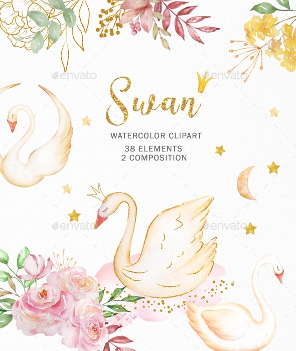 Watercolor Swan Princess and Flowers Clipart - Illustrations Graphics